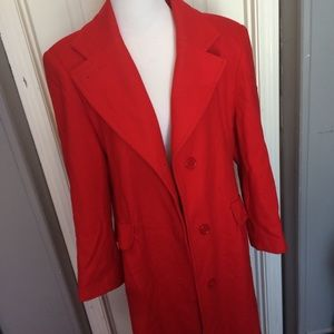 Vintage~Red long dress peacoat